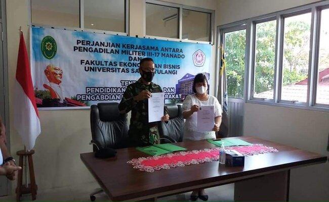 Penandatanganan Perjanjian Kerja Sama Pengadilan Militer III-17 Manado dengan Fakultas Ekonomi & Bisnis  Universitas Samratulangi Manado
