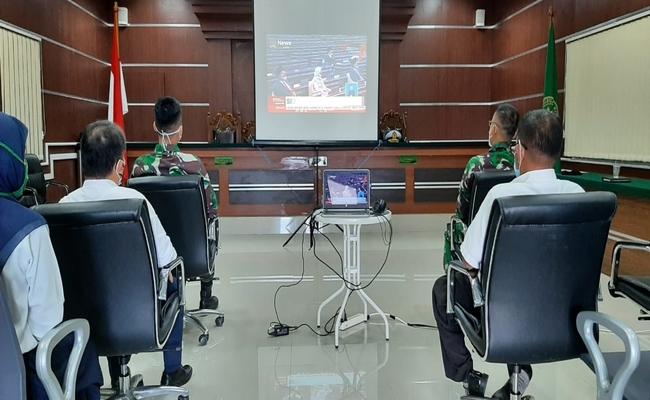 Pengadilan Militer III-17 Manado Menyaksikan Pidato Kenegaraan secara Daring